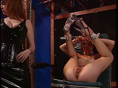 Redhead gets pussy whipped with the addition of clamped