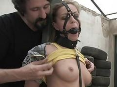 Hot girl manhandled and pain in the neck