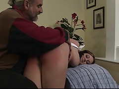 Hot schoolgirl with beamy pierced nips gets roughed up and spanked peppery