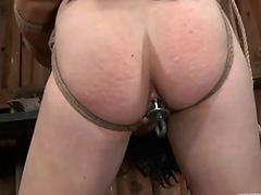 Tormented slave is giving corporalist a blowjob
