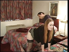 Julie Simone in nylons spanked by her old hand