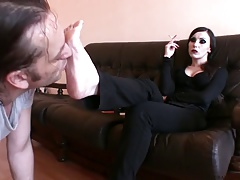 Insufferable Goddess Bojana gets her feet worshiped