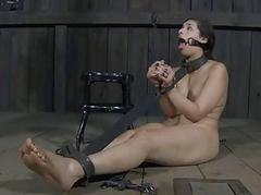 Gal is caged up nigh her sexy bald pussy exposed