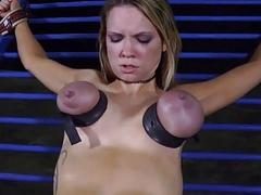 Tough beauty in shackles gets will not hear of snatch pumped