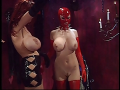 Girl in latex frolic with rope coupled with spanked