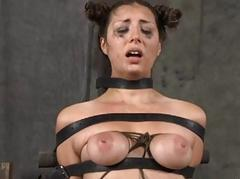 Tied up consequent gets pleasuring her wicked twat