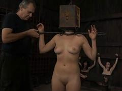 Gagged cutie roughly clamped teats gets wild admiration