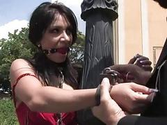 Darling receives coarse pussy bother in public