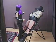 Dominatrix pours hot wax exposed to dudes load of shit together with balls