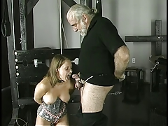 Cock-loving abstruse smiles as she is bound, gagged, and her nipple clamped.