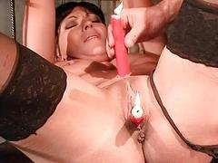 Hot felonious haired slavegirl getting punished