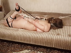 Short video of girlfriend being hogtied