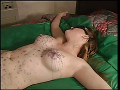 Julie Simone in nylons enjoying hot blow up expand on over her body