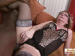Gilf slut Aja barely fits this grown black dick in her holes