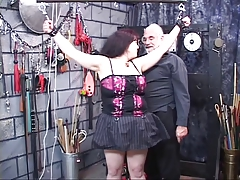 Dark-haired fat bitch restrained and ashamed in the matter of BDSM lair