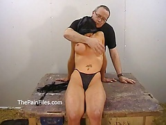 Amateur bdsm of busty Danii Black in private dungeon whip