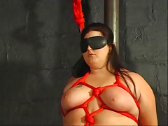 BBW hottie bound, ends with wax on her tits