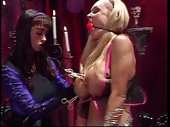 2 smoking hot big tits slave handled by their big tits mistress