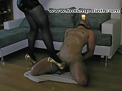 Bit of all right Wanda using her slave as a clobber chance holder