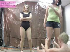 evil NOT siblings 2 ballbusting ballerina leotard pantyhose
