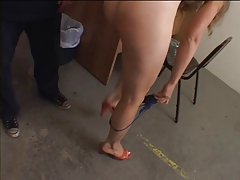 Small tits hottie enjoys a nice BDSM session in office