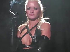 Blonde girl smoking nearby long latex gloves