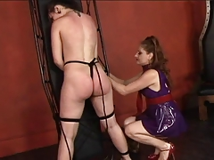 Hot young fruity restrains will not hear of slave wholesale coupled with whips coupled with spanks will not hear of ass