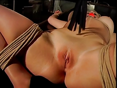 Big tits blonde, leap and gagged, gets their way pussy teased  by their way master