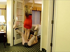 Blond mistress sashay trampling a confined slave