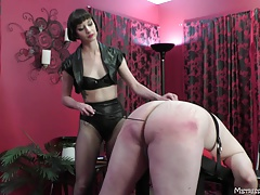 Femdom with pain eat up greedily boots cbt paddling