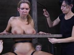 Tied up villein receives pleasuring her twat