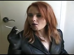 Smoking redhead in take cover