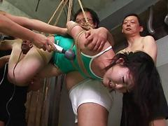 Asian freak tied up to view with horror sexually tortured by som
