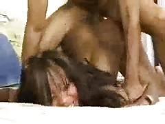 BDSM Ass Up face Down Interracial Doggie