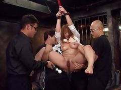Asian floozy has a toy opportunity with the randy fellas