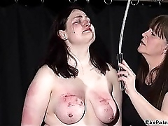 Amateur bdsm and extreme lesbian snag a grasp at of chubby slave girl in hardcore