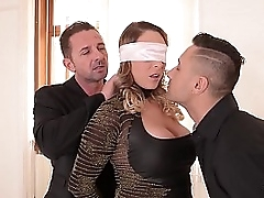 Intense BDSM threesome satisfies submissive Victoria Summers hunger for two dicks