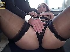 Young babe in stockings fucked roughly