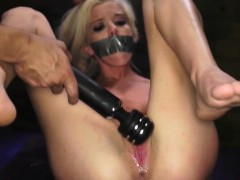 Brutal interracial throat gangbang Halle Von is in town