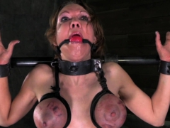 Busty slave self-conscious and tormented
