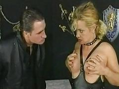 Blond milf slave with the brush gut tied together got spanked in