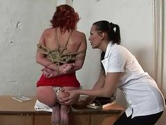 Horrid mistress playing with sexy redhead