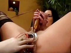 Busty skirt close to tied legs electric toys in both holes clit s