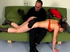 Young girl whipped getting the brush legs tied spanked by master o