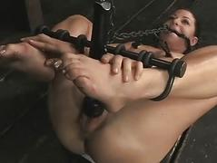 Caged up toddler gets pleasuring