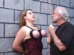 Dom puts rope all round duteous sluts confidential plus pinches her nipples