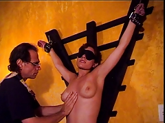 Big tits hottie Audrey ends up with hot wax over will not hear of tits in a BDSM innings
