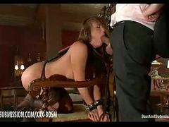Bondage pitch-dark babe is tired of fucking