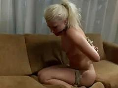 Gagged blonde hard whipped and bdsm fucked regarding bed
