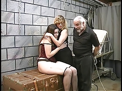 Two cute basement bdsm lesbians make out coupled with obtain roped hither by master Len